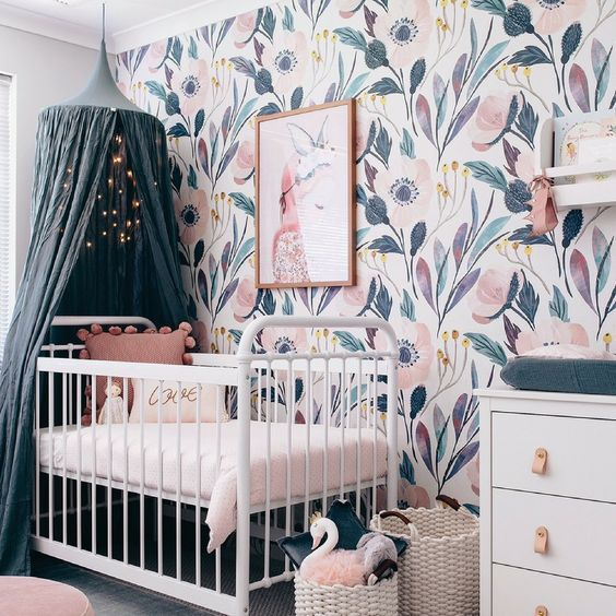 a watercolor flower wallpaper wall is a gorgeous idea for a girl's nursery