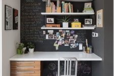 a chalkboard wall can always be decorated in a great way