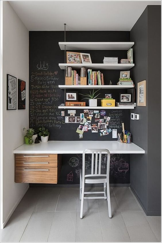 chalkboard walls can be used for leaving notes with chalk - it's a bold and functional idea