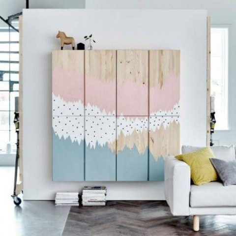 floating IKEA Ivar cabinets with creative painting is a bold idea for any room, turn on your inner painted