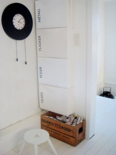 a comfortable storage piece of IKEA Trones and black letter stickers to mark each drawer