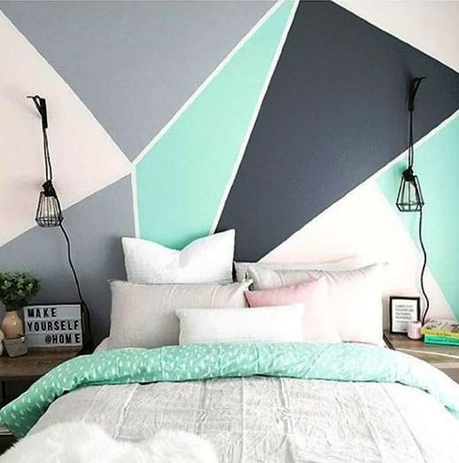 color blocking is a very edgy way to work with color in your bedroom and you may add a bold touch