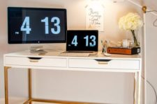 11 a stylish modern desk of an Ekby Alex unit, gold hangles and a gold leg base for a contemporary office