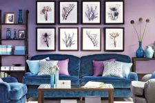 11 lilac is a bold and catchy idea for walls, and blue furniture may complement the space in a stylish way