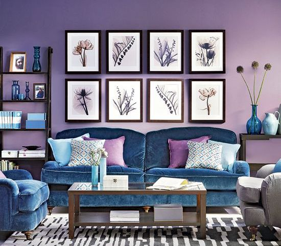 lilac is a bold and catchy idea for walls, and blue furniture may complement the space in a stylish way