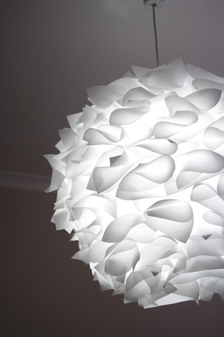 a creative pendant lamp of an IKEA Regolit lampshade and some paper decor on top