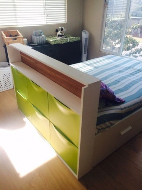 a kid's bed with a headboard with a neon green Trones piece for storage, which will give you much storage space