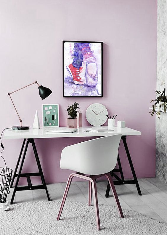 a lilac statement wall is a great color idea for a neutral space, it's a fersh alternative to a pink wall