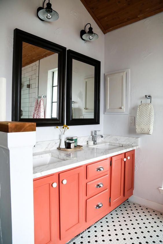 a living coral bathroom vanity is a trendy idea as this is the color of the year