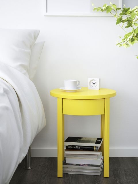 repaint your existing bedside table in some super bold color, and you'll give it a new look at once