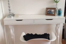 13 an Ekby Alex shelf hacked into a vanity with vintage legs and a matching white chair for a little makeup nook