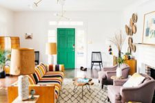 a gorgeous mid-century modern living room design in a bunch of colors