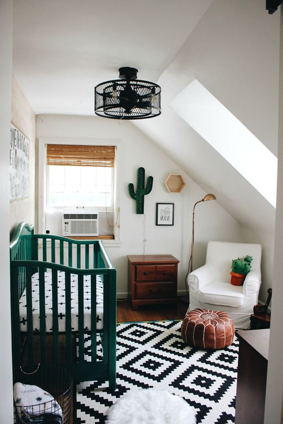 a crib painted emerald changes the look of the nursery, and emerald accessories add a vivacious touch