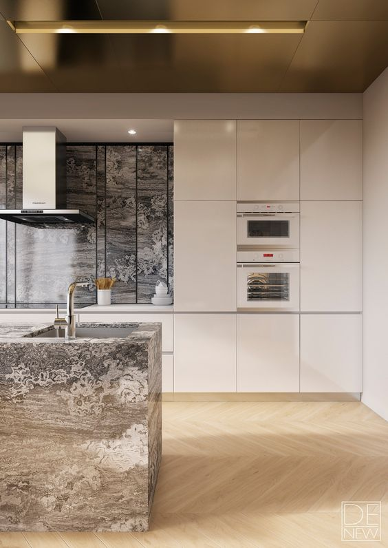 a minimalist kitchen with sleek white cabinets and a gold ceiling with a simple design, stone adds texture