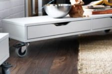 14 an Ekby Alex shelf on casters can become a rolling coffee table for a modern living room