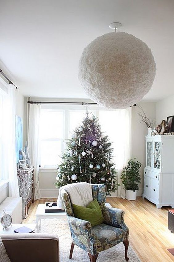 a fluffy and soft IKEA Regolit lampshade hack for a cozy winter space - it will remind you of snow