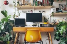 15 an ultra sleek mid-century modern desk with three storage drawers and a mustard chair to match