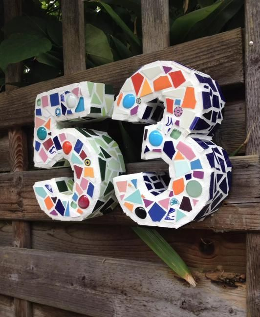 colorful terrazzo inspired house numbers design is a trendy idea as terrazzo is currently on top among the trends