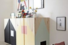 a cool way to use colors in a kids room by renovating a plain pine wood cabinet