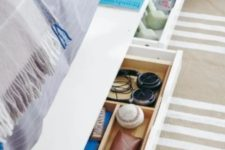 15 place an Ekby Alex shelf on casters and roll it under the bed to use for storage