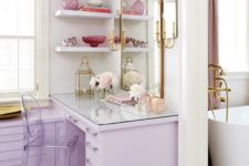16 a cute closet with lilac furniture and brass and gold touches is an amazing girlish space