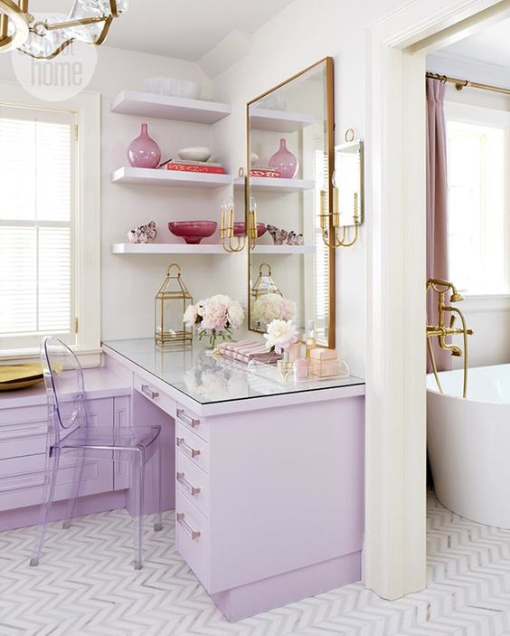 a cute closet with lilac furniture and brass and gold touches is an amazing girlish space