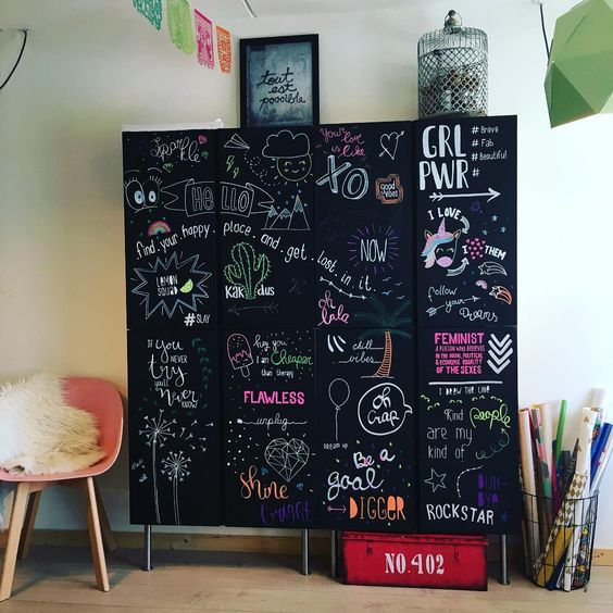 a gorgeous chalkboard storage unit for a teenager room made of 4 IKEA Ivar units and spruced up by the owner