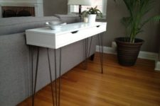16 a very slim console table of an Ekby Alex shelf and hairpin legs for a monochromatic space