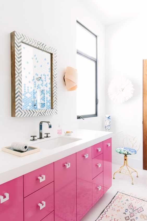 a bright pink vanity is a fun and whimsy idea for a girlish bathroom, love this passionate color