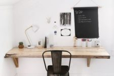 17 a living edge wall-mounted wooden desk is a smart idea to save some space