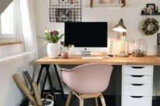 17 a modern and comfy desk made of an IKEA Alex unit, black trestle legs and a wooden tabletop is a cool idea