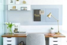 a stylish home office designed with a hacked ikea desk