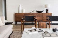 18 mix up dark stained or rich stained furniture throughout the whole space to make it balanced