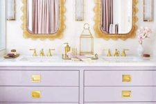 19 a lilac and gold double vanity is an amazing and trendy piece for a bathroom with a special color