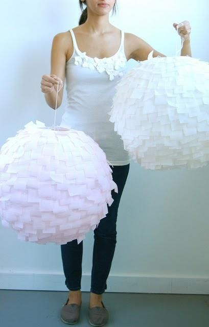beautiful foraged pendant lamps of IKEA Regolit lampshades and crepe paper plus an ombre effect