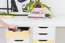 19 two Alex units spruced up with metallic contact paper looks glam and glitz and makes your space catchier