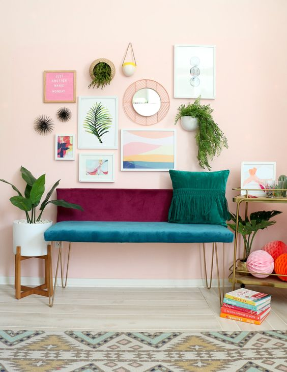 a color block velvet bench with hairpin legs is a bold idea for a boho chic space and can be DIYed