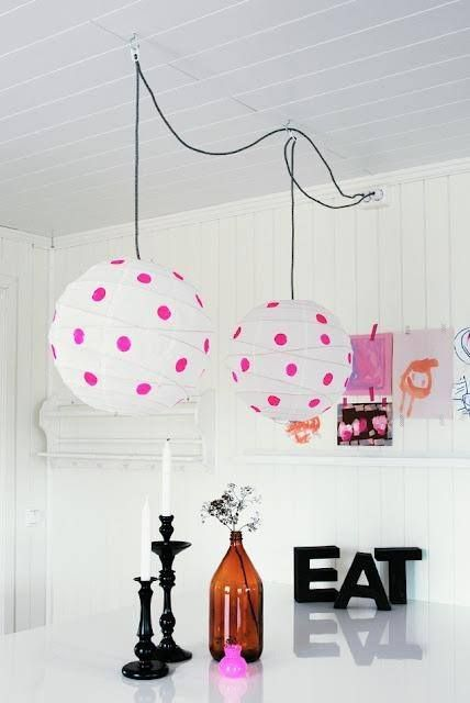 add a fun and playful touch to your space with Regolit lampshades spruced up with colorful polka dots