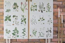 20 an IKEA Ivar cabinet placed on tall legs and decorated with vintage plant pictures is a whimsy hack to try