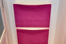 21 an IKEA Trones cabinet spruce up with hot pink fabric is a stylish idea to go for
