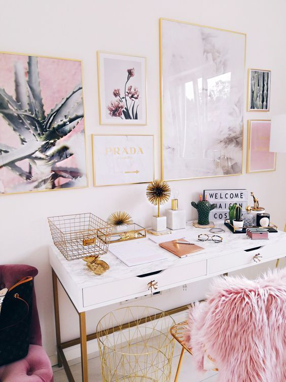 a cute gallery wall and some pink faux fur on the chair create a cool ambience for a girlish space