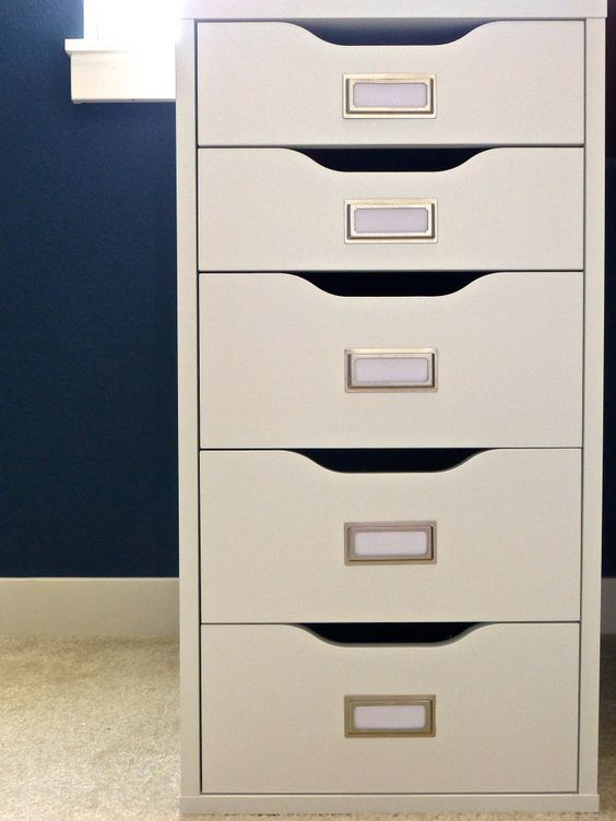 adding bookplates to an Alex drawer unit will give you a simple and comfy filing system