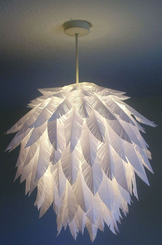 a chic paper feather pendant lamp made of an IKEA Regolit lampshade is a cool DIY