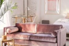 23 a lilac velvet sofa is a gorgeous color and fabric statement for any space, it looks shiny and bright