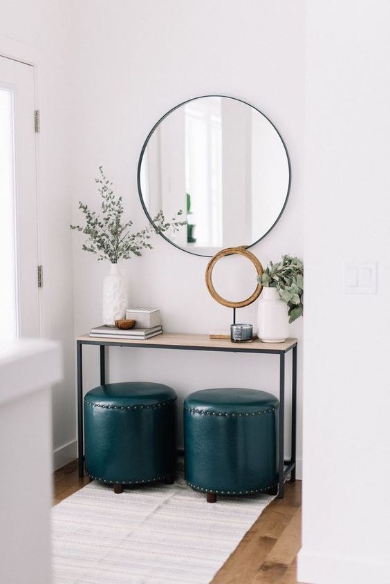 small navy stools or ottomans can be used instead of a bench and hide some storage spaces