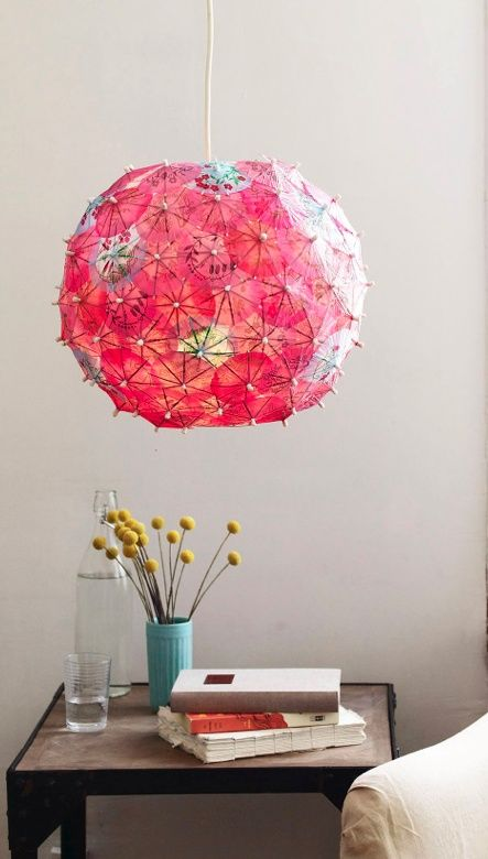 a Regolit lampshade spruced up for summer with colorful cocktail umbrellas, so cute and relaxing