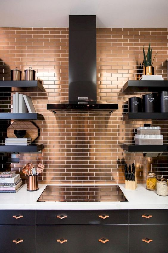 metallic tile backsplashes are a hot trend to try right now
