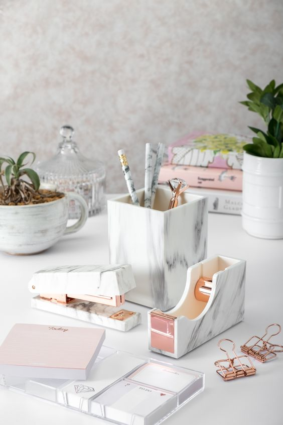 stylish desk accessories are a must for every home office, craft or buy a whole set