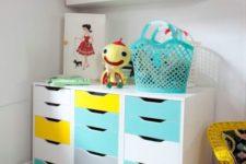 a bold ikea storage unit for a kids room