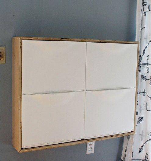 make a birch plywood wooden frame for Ikea Trones shoe storage cabinets for a stylish look